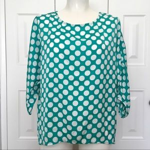 BOBEAU Teal green polka dot flowy blouse